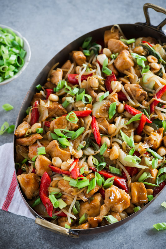 Asian style chicken with veggies in a pot