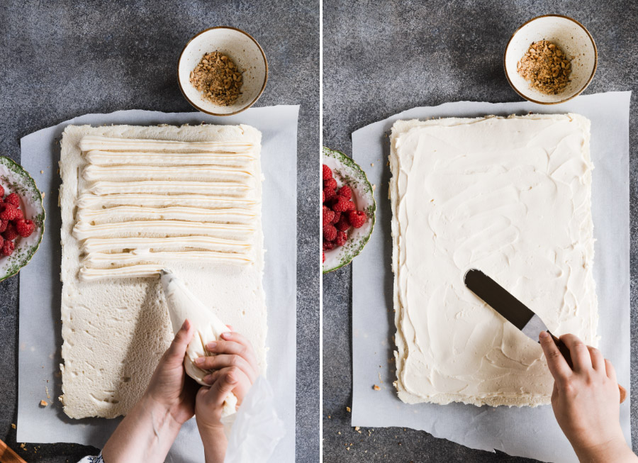 Two pictures showing the mascarpone cream piping