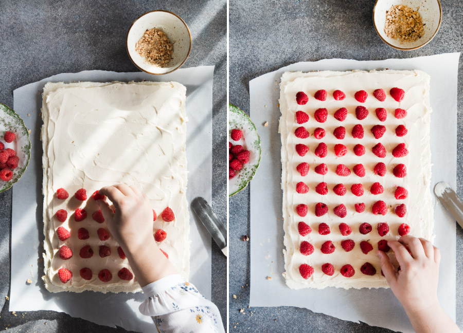 Two pictures showing arranging of raspberries over cream